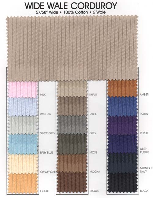 6 Wale Corduroy In 21 Colors 60 Inches Wide